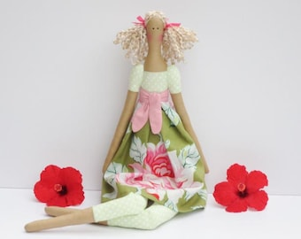 Fabric doll handmade rag doll pink green floral cloth doll art doll cute stuffed doll gift for girls room decor doll birthday gift for girl