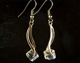 Crystal Earrings - Clear Ice Cubes