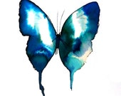 turquoise, azure and ultramarine blue and white gold butterfly square composition. original watercolour painting
