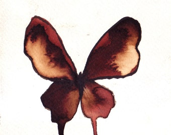 brown and white gold butterfly. ORIGINAL ART watercolour painting