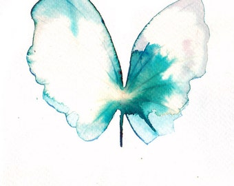 white gold and  turquoise butterfly. ORIGINAL ART watercolour painting