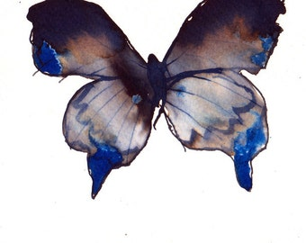 ultramarine blue grey and black butterfly original watercolour painting