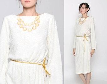 Vintage 70s Ivory Gold Textured Long Sleeve Goddess Dress