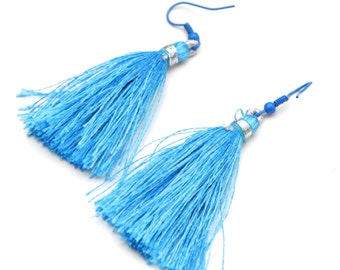 Silky Turquoise Tassel Earrings with Matching Blue Earwire - Wearable Textile Art