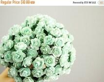 SALE 10% OFF 144 Paper Roses /  Mint Green / 14mm / 12 Dozen Flowers / Bridal / Scrapbooking / Wedding Favors / Millinery / Baby Shower