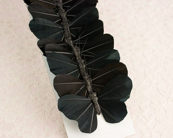 Black Feather Butterflies 12 Monarch Bird Feather Butterflies 3 Inch Wingspan Size / More Colors Available