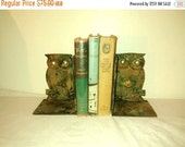 On Sale Vintage Owl Bookends , 1960's Decor , Cast Iron
