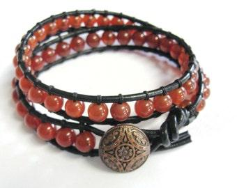 Wrap Bracelet. Leather Double Wrap Bracelet. Carnelian  Agate Wrap Bracelet. Agate Bracelet. Gemstone Wrap Bracelet. Boho Bracelet