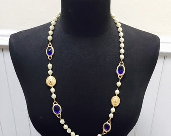 Vintage 1970s Blue Glass & Gold Coin Bead Necklace