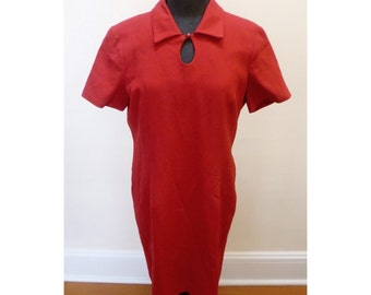 Vintage 1970s Red Mary Kay Dress- L