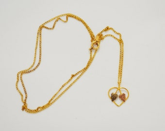 10K Gold Heart Pendant with Two Leaves Necklace 12K Gold Filled Chain Link Necklace