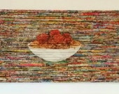 CUSTOM LISTING, Pasta Night, Modern Recycled Art, Food Art, Mixed Media Fine Art