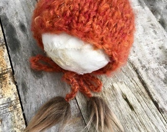 orange mohair bonnet with fur,new born prop
