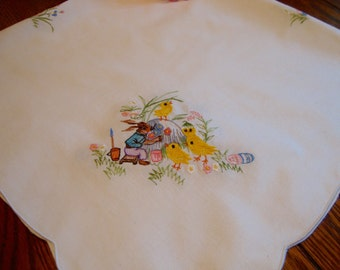 French Embroidered Tablecloth Vintage Tea Cloth Bunnies and Chicks Table Cover Easter