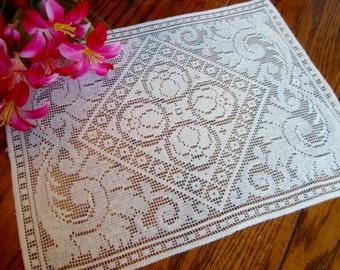 White Lace Doily Vintage Lace Tray Liner Antique Placemat