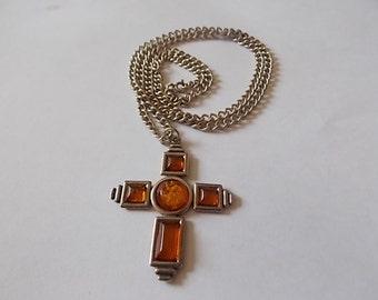 Vintage Silver Amber Cross Chain Modernist  WONDERFUL