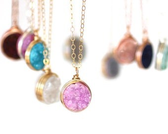 Druzy Round Necklaces - Many Colors to Choose From!