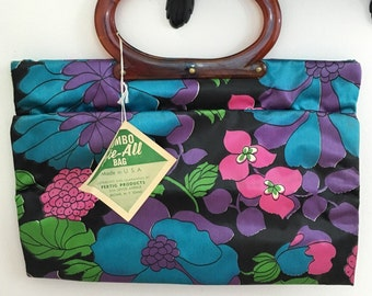 Berry Good // 60s 70s Floral Convertible Tote Purse Bag