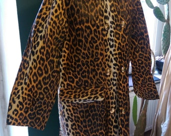Rare & Beautiful Original 1950's Leopard Multi Color Long Raincoat L