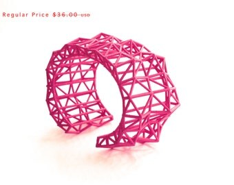Summer SALE  geometric jewelry- Faceted Cuff bracelet in Pink. modern design 3D printed. statement jewelry