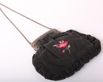 Victorian Handstiched bag, 19th-century English Evening Purse, Black and Metal Floral Embroidered Bag