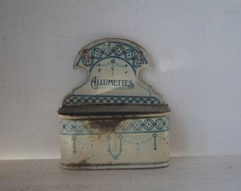 Vintage Enamel Allumettes Match Holder