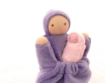 Mother and baby doll natural fiber waldorf lavender pocket doll