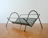 Small Mid Century Black Metal Book Shelf