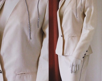 Vintage 1980s Claude Montana Skirt Suit Ivory Cream Fabric with Silver Bead Accents on Skirt and Jacket