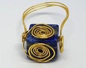 OOAK Lapis Lazuli Gemstone Wire Wrapped Ring Size 9