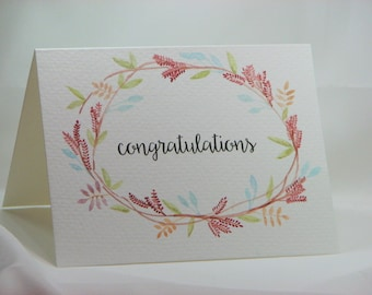 OOAK Handpainted Wreath Congratulations Greeting Card