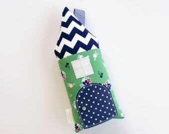 Tooth Fairy Pillow,House, Cottage, Stuffed Toy, Preppy, Green, Chevron Blue, Floral, Children, Gift For Kids, Keepsake, Special Occasion