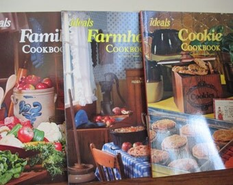set of 3 Vintage Ideals Farmhouse, Family, and Cookie cookbooks