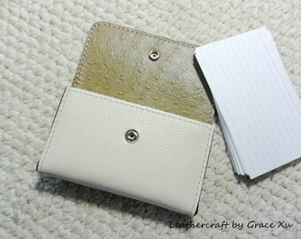 """100% hand stitched ivory white cowhide leather 4"""" x 6"""", 3""""x 5"""" index cards, 2"""" x 3.5"""", 2.5""""x2.5"""" business cards, credit cards holder / case"""