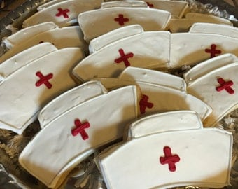 Nurse Hat Cookies Congrats Med School Party Favors Thank You Nurse Cookies