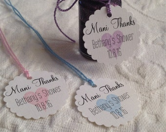 Personalized Mani Thanks Tags - Heart Nail Polish Tags - Bridal Shower - Baby Shower Favor Labels