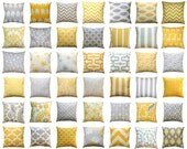 Throw Pillow Cover, Yellow and Grey Pillows, Mix & Match, Yellow Pillow Case, Zippered Pillow, Decorative Pillow, Couch Pillows, Cushions
