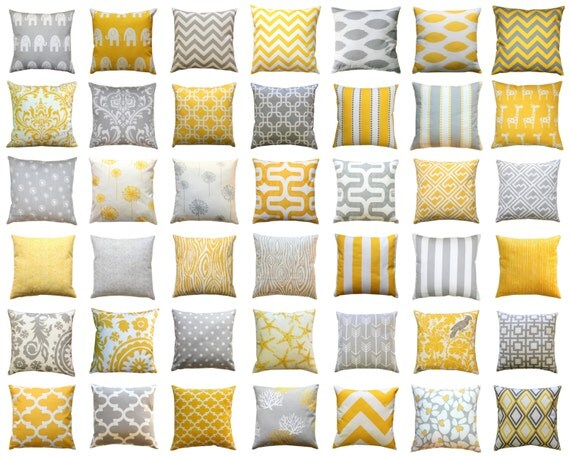 Throw Pillow Cover, Yellow and Grey Pillows, Mix & Match, Yellow Pillow Case, Zippered Pillow, Decorative Pillow, Couch Pillows, Cushions