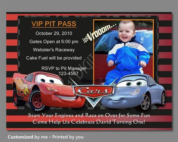 Cars Birthday Invitation, Disney Cars Invitations, Lightning McQueen Invitation, Sally Birthday Invitatoin, Photo Invitation,Printable