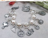 ON SALE: Freshwater Pearl, Sterling Silver 2 Strand Bracelet w Metal Clay PMC Toggle & Charms