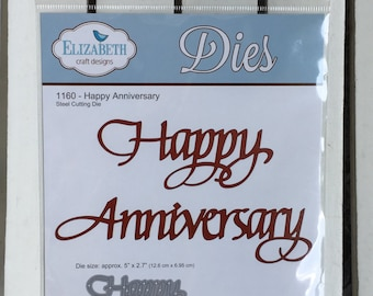Elizabeth Craft Happy Anniversary steel cutting die #1160, 5 X2.7 inches in size, for card making, scrapbooking, paper crafting, planner