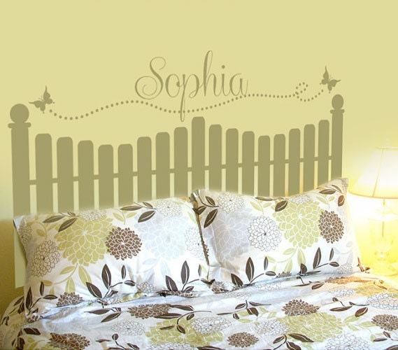 Picket Fence Decor Personalized Headboard By Vinylthingzwalls
