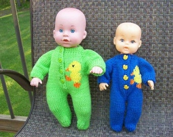 40) 10 and 12 Inch Doll Footed PJ's  10 Inch Dolls  12 Inch Dolls  Pajamas  Footed  Button Front  Duck  Bear  Penguin  Sail Boat