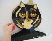 Cat Art, Hand-painted Wooden Cat Head Hanger by R. Richards 1993, Kitsch Cat Painting Art Clothes Hanger