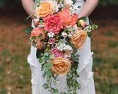 Coral and Cascade Bouquet, Trailing Bouquet, Wedding Bouquet, Rose Bouquet, Keepsake Bouquet by Holly's Wedding Flowers