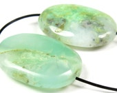 RESERVED for Evelyne - Australian Chrysoprase Oval Pendant Bead - 2 Pieces - 25mm x 18mm x 6.5mm - B4296