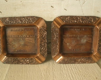 2 vintage souvenir ashtrays copper metal Niagara Falls Canada 1950s
