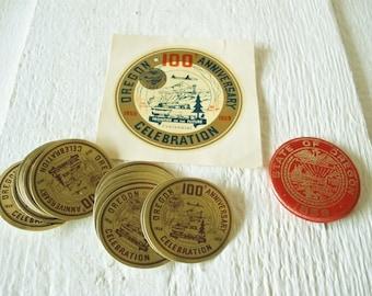 Vintage pin, decal, labels Oregon Centennial 1959 state celebration