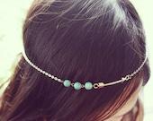 Turquoise Beads Silver Arrow Boho Head Chain Headpiece