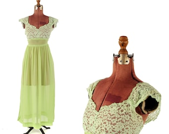 Vintage 1960's Sheer Lime Green Floral Lace + Chiffon Empire Waist Garden Party Romantic Dress S M